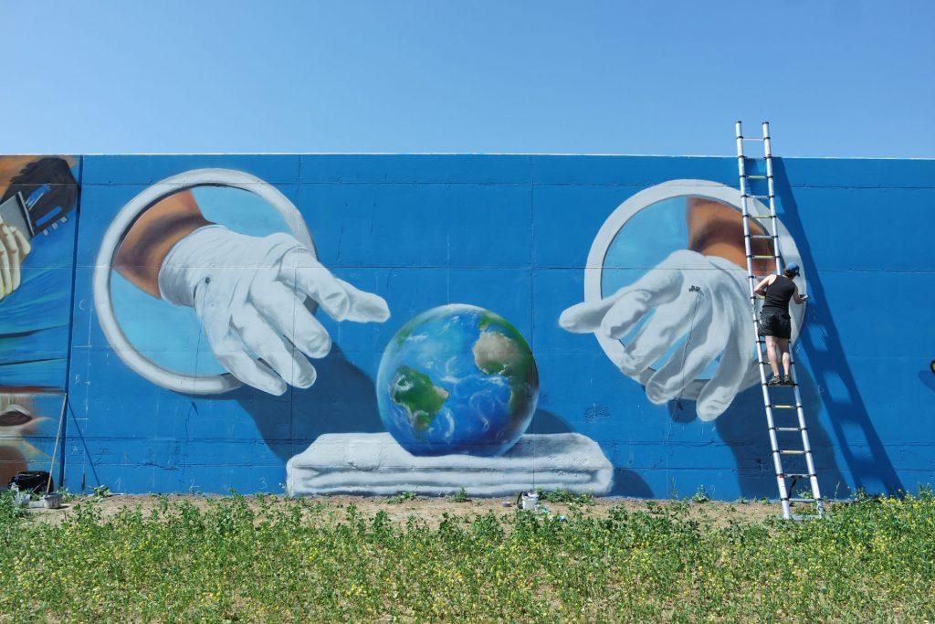 Waterkeringsmuur Sigmaplan graffiti